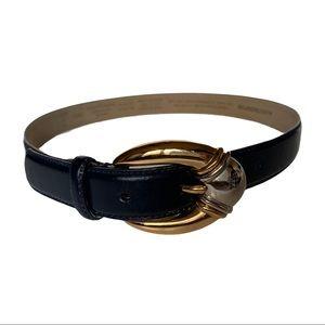 Vintage Liz Claiborne Navy Blue Leather Belt